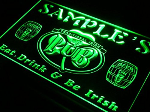 Name Personalized Custom Irish Pub Shamrock Bar Beer LED Neon Sign - Green colour (Light Irish Beer)