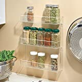 InterDesign Linus Wall Mount Spice Organizer Rack for Kitchen Storage - 3-Tier, Clear