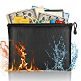 Fireproof File Bag with Zipper Pulls A4 Size Paper 13.5''×9.8''×1.4''Business Document Organizer Portable Filing Pouch Office Stationery Storage Money Bag for Cash, Passport,Jewelry 100140