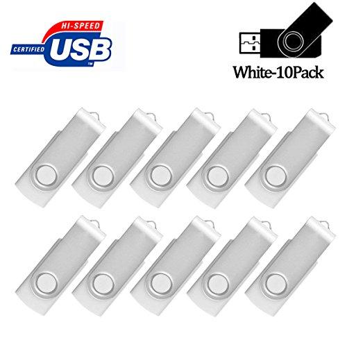 AreTop Flash Drive 4GB 10 Pack, Pen Drive USB2.0 Flash Drive Memory Stick Swivel Thumb Drives for Fold Date Storage (Pack 10Pcs-White)