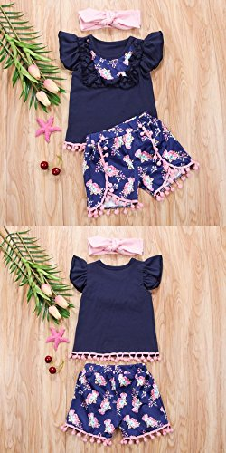 Fashion Toddler Baby Girls Outfits Floral Printed Sleeveless Ruffled Tops+Shorts+Headband 3pcs Outfits Set