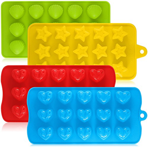 - Silicone Chocolate Candy Molds, AIFUDA 4 Packs Non-stick Baking Molds Ice Cube Trays for Making Cake Muffin Cupcake Gumdrop Jelly - Heart, Star & Shell