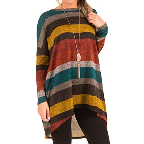 longues tunique manches la haut femme irrgulire t l'automne plus bas QHDZ rayures Les blouse taille shirt Yellow Chemise longue femmes Y0Pn1w