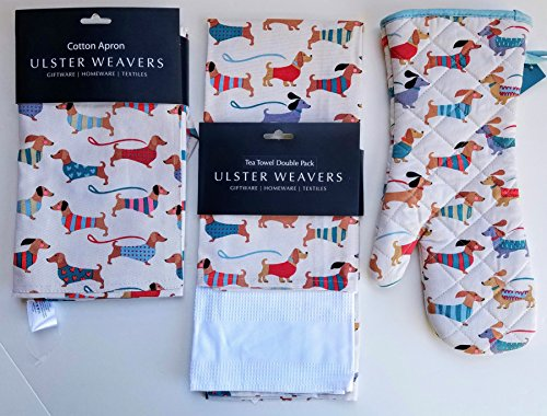 Ulster Weavers Dachshund Dogs Apron, Tea Towels And Oven Mitt Bundle