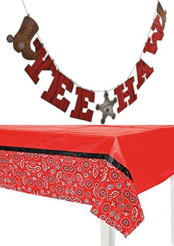 HAPPY DEALS ~ Bandana Print Western Tablecloth + Western Party Yee Haw -