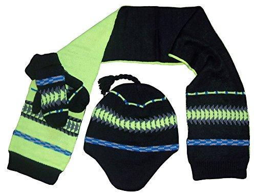 291168d825d N Ice Caps Little Boys Racer Striped Knitted Hat Scarf Mitten Set - Buy  Online in Oman.