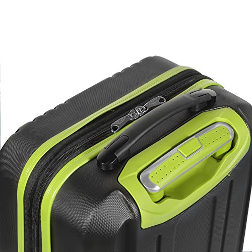 """Olympia Apache Ii 21"""" Carry-on Spinner, BLACK+LIME"""