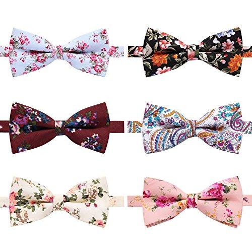 AUSKY 4 Packs Mens Adjustable Pre-tied Handmade Cotton Printed Floral bow ties