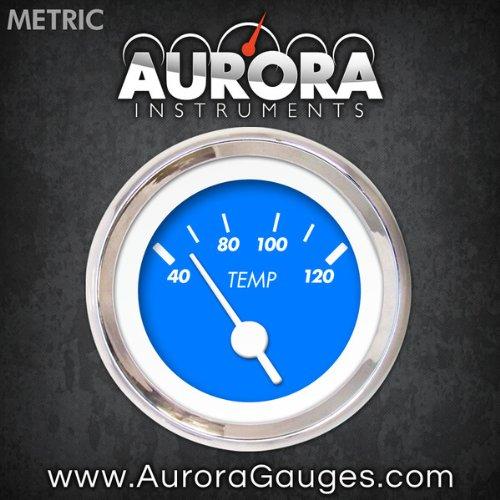 White Vintage Needles, Chrome Trim Rings, Style Kit Installed Aurora Instruments 4867 Marker Blue Metric Water Temperature Gauge