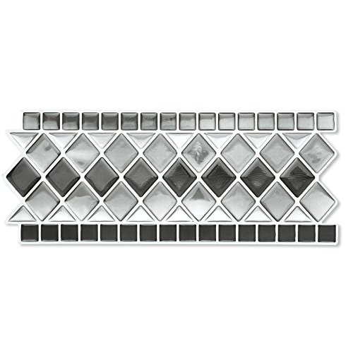 Collections Etc. Tile Borders Peel and Stick Backsplash, Removable Backsplash for Kitchen, Bathroom, Set of 8, Black and White ()