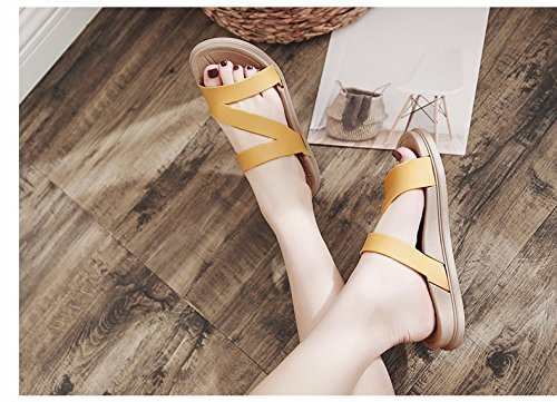 scarpe Moda Giallo coreana versione fondo XIAOGEGE antiscivolo esterni spiaggia pantofole da estate spesso lady trascinando nuovi pantofole atqdwRxB