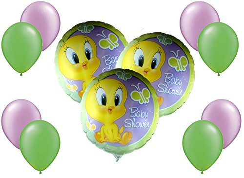- Warner Brothers Baby Shower Tweety Mylar/Foil and Latex Balloons Bouquet (11 Pcs)