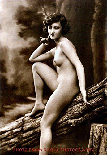 "Nude Woman Sitting On Log 8.5x11"" Photo Print Vintage Sexy Erotic Female Image"