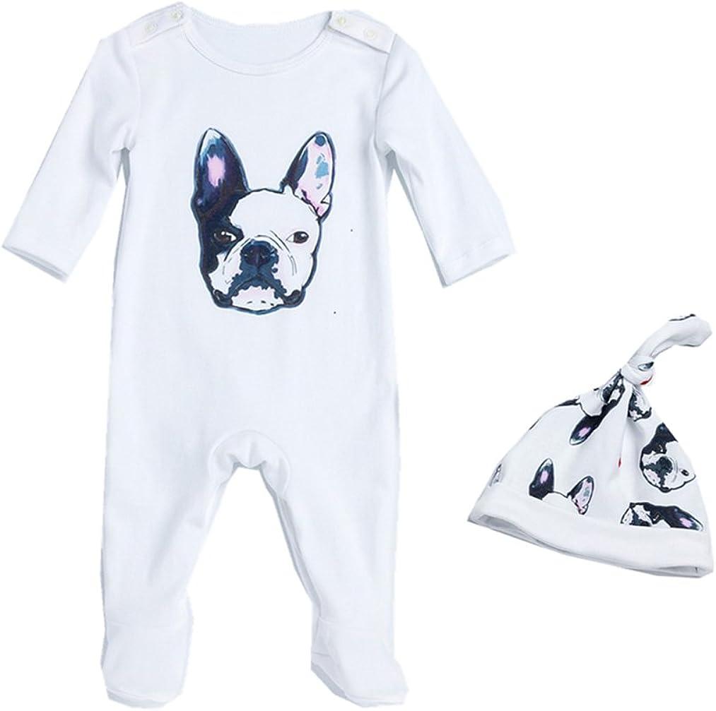 Bom Bom Baby Strampler Jungen M/ädchen Schlafanzug Strampler Karikatur Bulldogge mit H/üte