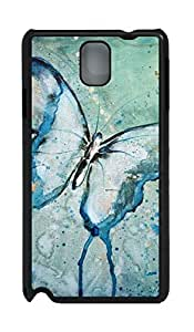 Art Blue Butterfly Back Cover Case,Hard Artsy Black Plastic Case Shell for Samsung Galaxy Note 3 N9000