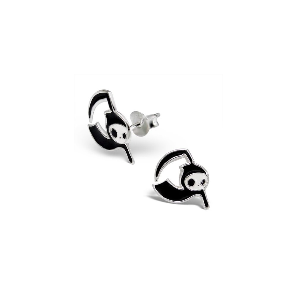 925 Sterling Silver Colour Grim Reaper Colorful Ear Studs Girls