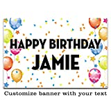 Buttonsmith Custom Celebration Balloon Vinyl Banner 3'x2' - Indoor/Outdoor - Personalize with Your Text - Designed, Printed, and Assembled in USA