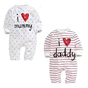 EsTong Baby Girls Boys Pure Cotton Long Sleeve Onesies I Love Mummy&Daddy Romper Bodysuit 0-3 Months