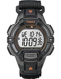 Timex T5K834GP Men's Ironman 30-Lap Rugged Velcro Black and Orange Wrist Watch