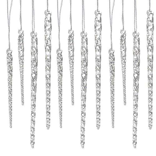 24 piece Set Kurt Adler 3.5-5.5 Assorted Clear Glass Icicle Ornaments - Set of 2