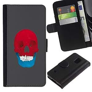 All Phone Most Case / Oferta Especial Cáscara Funda de cuero Monedero Cubierta de proteccion Caso / Wallet Case for Samsung Galaxy S5 V SM-G900 // Red & Blue Skull - Pop Art