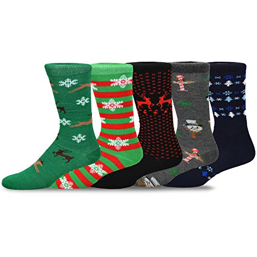 TeeHee Christmas 2016 Multi-Pack for Men, 51124-5 Pairs, (Size 10-13) (Mens Christmas Socks)