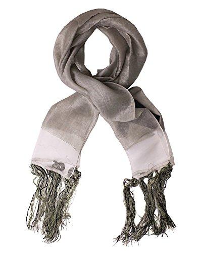 Diesel Scarves - DIESEL BLACK GOLD - Viscose Linen and Silk Neckerchief - Scarf 71x11 in / 180x27 cm FLYUT - beige, One size