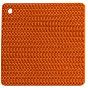 Core Silicone Square Trivet Pot Holder, Orange - 19H x 19W x 1D cm
