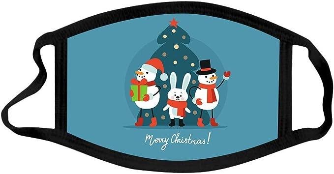 GJKK 5 St/ück Mundschutz Weihnachten Waschbar Bunt mit Motiv Atmungsaktiv Staubdichte Bandana Halstuch Lustig Mund und Nasenschutz Stoff f/ür Damen Herren