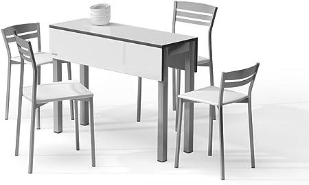 MASQUEMESAS MESA EXTENSIBLE PICCOLA - Encimera Laminado Blanco/Patas Aluminio, 100X35 cms: Amazon.es: Hogar