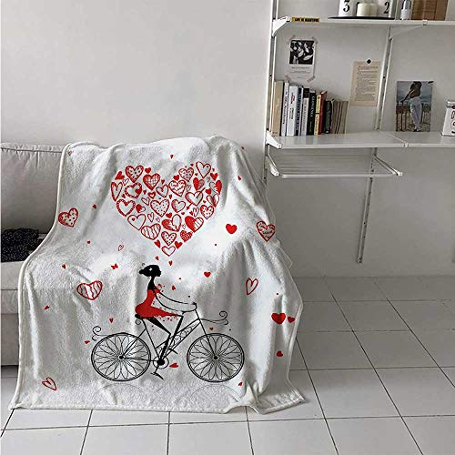 maisi Valentines Lightweight Blanket Girl Cycling with Big Heart Woman Love Romantic Day Celebration Life Print Digital Printing Blanket 50x30 Inch Red Black White