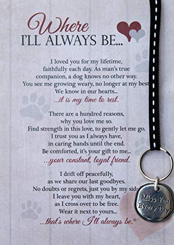 Where I'll Always Be Pet Loss Sentiment with Keychain - Heartfelt Pet Sympathy/Pet Memorial Gift (Dog)