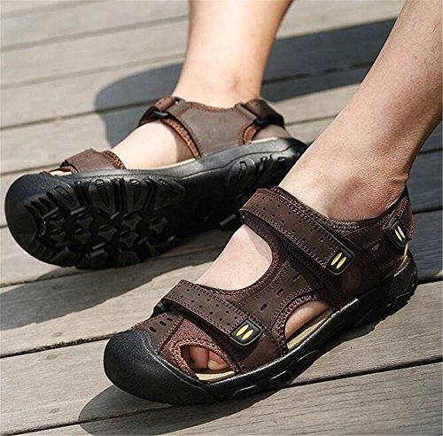 Darkbrown fuertes Zapatos de de de Talla al Trekking pies a Caminar 38 Senderismo verano Chanclas Sandalias NSLXIE libre genuino cuero hombre de de aire Correas primavera cerrados green Velcro eu46 Sandalias 46 Awxdq8z