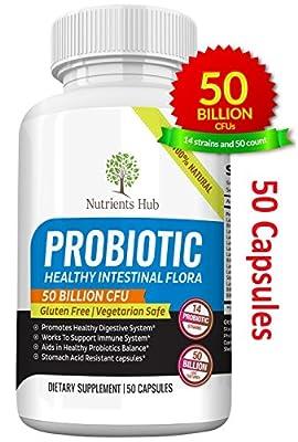 Nutrients Hub Probiotics 50 Billion CFUs 14 Strains, 1 High Potency Organic Probiotic Supplement | All Natural, Gluten Free, NON-GMO Vegan Flora Digestive Probiotics for WOMEN MEN KIDS