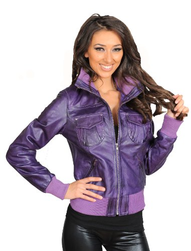 Coat Jacket Leather Blouson Bomber Real Ladies Fitted Tessa in Purple Trendy wtxA0WFq