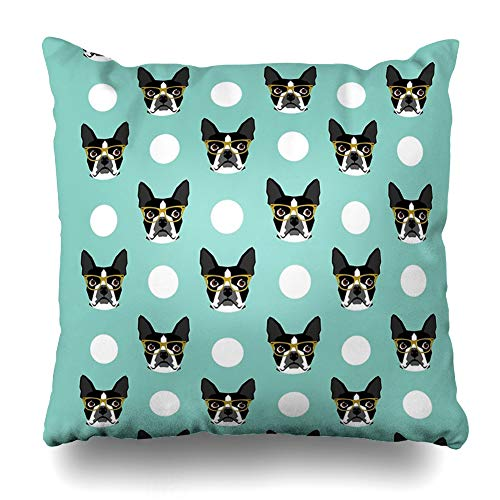 (Ahawoso Throw Pillow Cover Square 16x16 Inches Logan Boston Terrier Pattern Polka Dots Dog Print Gift for Dog Person Dog Lovers Terrier Custom Decorative Pillow Case Home Decor Pillowcase)