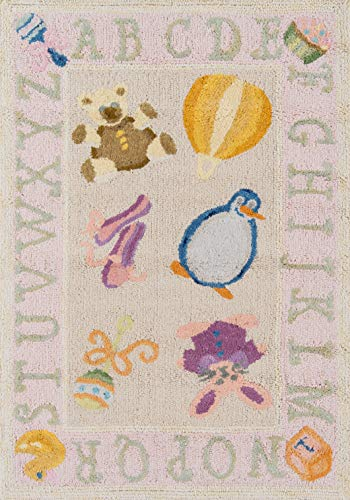 Momeni Rugs LMOINLMI-2SOP2030 Lil' Mo Classic Collection, Kids Themed 100% Cotton Hand Hooked Area Rug, 2' x 3', Soft Pink 36' Round Hooked Rug