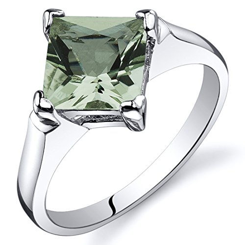 Carats 1.50 Green - Green Amethyst Engagement Ring Sterling Silver Rhodium Nickel Finish 1.50 Carats Size 9