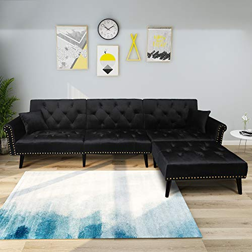 (Modern Sofa Bed, L-Shape Sectional Couch, 115