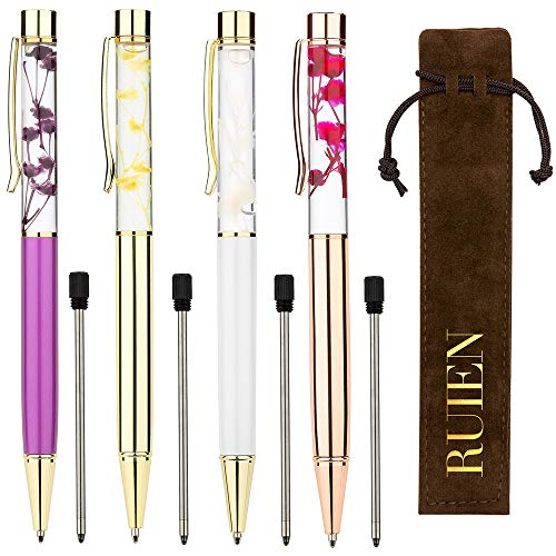 Liquid Pen Ballpoint (RUIEN Ballpoint Pen, 4 Pcs Metal Refills Dynamic Liquid Flower Pen Office Supplies 0.7mm Black Ink 4 Colour Gold/Purple/White/Rose Gold)