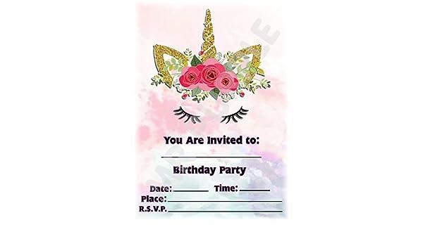 Invitaciones para fiesta de cumpleaños infantiles con diseño de unicornio (paquete de 12 invitaciones A5) WITHOUT Envelopes: Amazon.es: Oficina y papelería