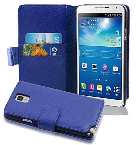 Cadorabo - Funda Samsung Galaxy NOTE 3 (N9005) Book Style de Cuero Sintético en Diseño Libro - Etui Case Cover Carcasa Caja Protección con Tarjetero en BLANCO-MAGNESIO AZUL-REAL