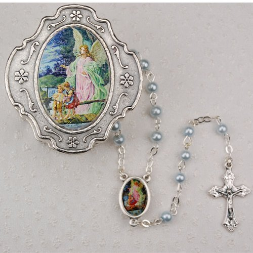 Guardian Angel Blue Rosary with Box Baptism Christening Communion Gift (Rosary Keepsake)