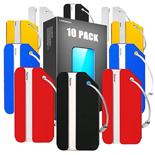 Landisun Luggage tags Baggage Tags for Bag Tags Travel Tags ID Card of 10 Pack (10 PACK-MULT) ()