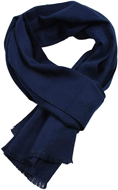 bufanda de invierno para hombre cálido doble fino sólido bufandas algodón cálido marca de lujo borla pañuelo puro pañuelo hombres negro@Azul marino_Los 30x180cm: Amazon.es: Ropa y accesorios