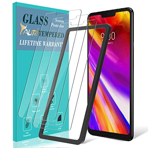 [3-Pack] TAURI Screen Protector for LG G7 ThinQ, [Alignment Frame] Easy Install [Case Friendly] Tempered Glass Screen Protector, Lifetime Replacement Warranty