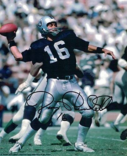 Jim Plunkett Autographed Oakland Raiders 8x10 Photo (Black w/Ball) (Si Mall-shops)