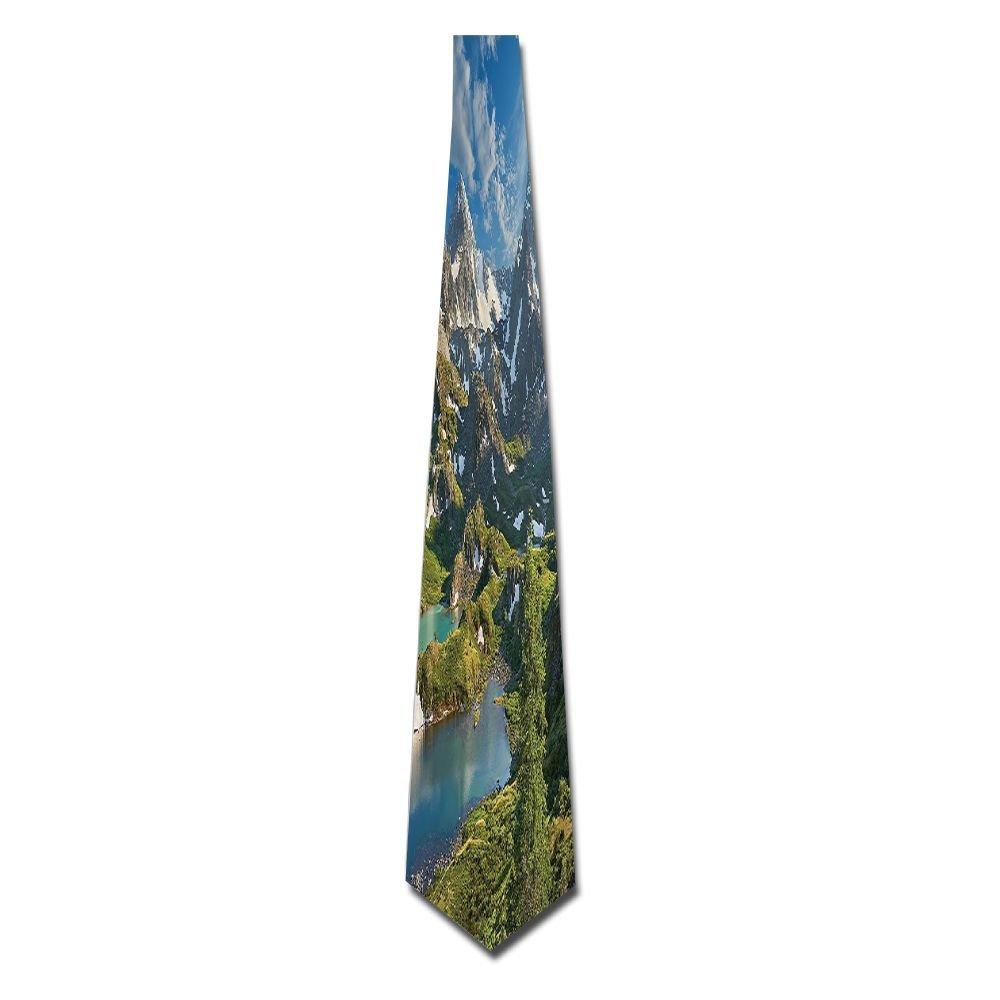 WuLion Lake Between Snowy Altai Range Of Mountains Siberia Meadow In Nature Men's Classic Silk Wide Tie Necktie (8 CM)
