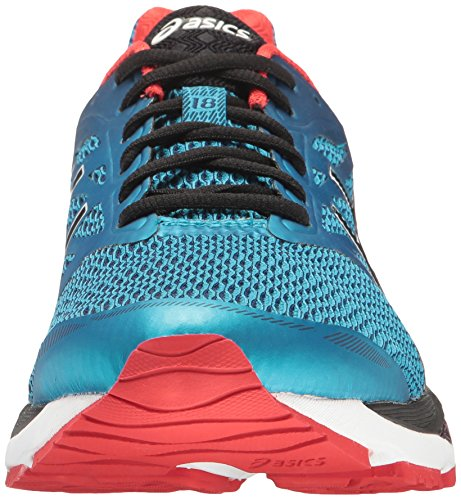 ASICS Mens Gel-Cumulus 18 Running Shoe, Island Blue/Black/Vermilion, 7.5 M US