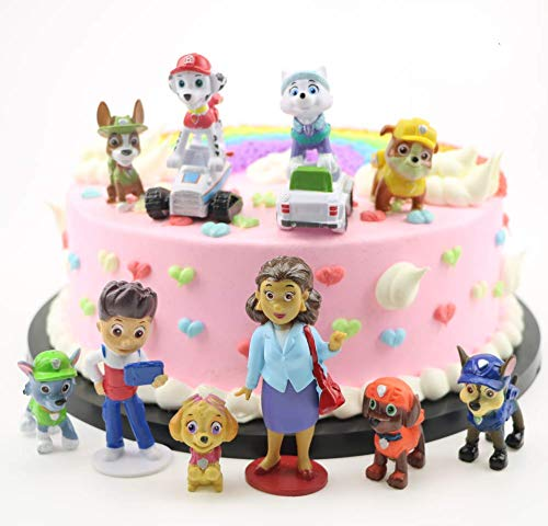 Cake Figurines Kids (12PCS Paw dogs patrol cake topper Cup cake topper mini Figurines Children mini toys Kids birthday party)